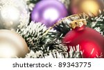 Christmas background concept - Christmas decoration ornaments - stock photo
