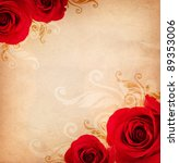 Stock photo vintage background with red roses and floral ornament 89353006