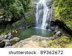 Waterfall in Maui, Hawaii. Wailua Falls. Tropical ISland. - stock photo