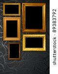 gold frame on black vintage... | Shutterstock . vector #89383792