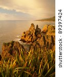 Sea Cliffs In Punakaiki  West...