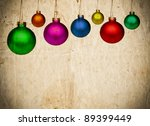Vintage paper background with colorful Christmas balls - stock photo
