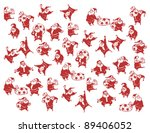 set of funny santa claus... | Shutterstock .eps vector #89406052