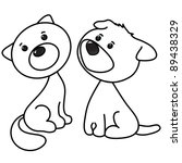 Stock vector cute cat and dog cartoon line art coloring 89438329