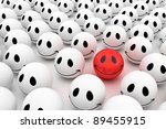 Isolated glossy 3d standard smiling smileys. crowd - stock photo