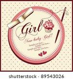baby girl shower invitation card | Shutterstock .eps vector #89543026