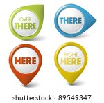 vector round 3d here   there ... | Shutterstock .eps vector #89549347