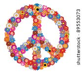 sign peace from flowers | Shutterstock .eps vector #89553073