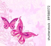 Pink Background With Butterfly...