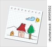 house   kiddie style drawing | Shutterstock .eps vector #89595502