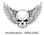 Human Skull With Wings For...