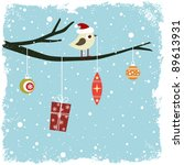 winter card with bird  gift box ... | Shutterstock .eps vector #89613931