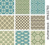 set of nine seamless pattern in ... | Shutterstock .eps vector #89632783