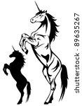 raster   rearing unicorn... | Shutterstock . vector #89635267