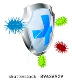 Shield with virus or bacteria bouncing off it. Antibacterial or antiviral concept. Could also represent computer virus. - stock photo