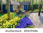 Flower shop in Keukenhof Gardens, Lisse, Netherlands - stock photo