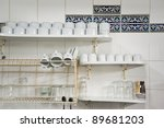 white cups and glasses on... | Shutterstock . vector #89681203