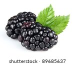 Fresh blackberry with leaves - stock photo