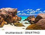 tropical beach at seychelles  ...   Shutterstock . vector #89697943