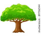 Cartoon big green tree isolated on white background. Vector illustration. - stock vector