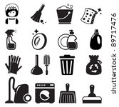 cleaning icons | Shutterstock .eps vector #89717476