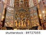 Altarpiece of Veit Stoss , is the largest Gothic altarpiece in the World - stock photo