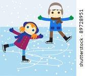 ice skating boy and girl.... | Shutterstock .eps vector #89728951