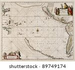 map made in 1650 by Frederick De Wit, first map of the Pacific to show California as an island - stock photo