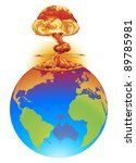 A mushroom cloud explosion on the world globe. Concept global disaster, catastrophe, end of the world etc. - stock photo