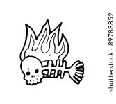 spooky flaming fish bones... | Shutterstock .eps vector #89788852