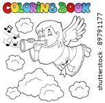 coloring book angel theme image ... | Shutterstock .eps vector #89791177