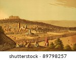 Jerusalem. Engraved by Luigi Mayer and published in Views in Egypt, Palestine and Other Parts of the Ottoman Empire, United Kingdom, 1804. - stock photo