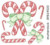Doodle style candy cane vector illustration - stock vector
