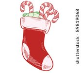 Doodle style christmas stocking with candy canes vector illustration - stock vector