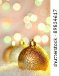 row of golden christmas baubles ... | Shutterstock . vector #89834617