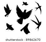 flying birds silhouette on white background, vector illustration - stock vector