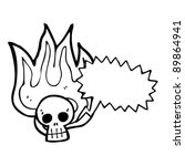 burning halloween skull cartoon ... | Shutterstock .eps vector #89864941