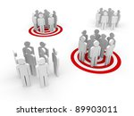 People in group stand in red target - stock photo