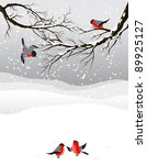 Winter Background With Birds...
