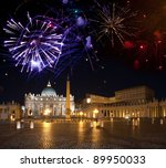 Vatican. Celebratory fireworks over a St Peter's Square - stock photo