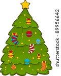 cartoon christmas fir tree. | Shutterstock . vector #89956642