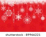 christmas balls on red... | Shutterstock .eps vector #89966221