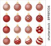 set of red christmas balls... | Shutterstock .eps vector #89989336