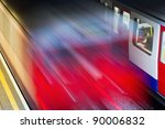 arriving underground with motion blur - stock photo