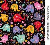 elephants, birds & flowers pattern - stock vector
