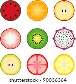 fruit icon set in circle | Shutterstock .eps vector #90036364