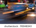 night traffic in London City with longtime exposure - stock photo