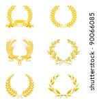 golden wreath set  bitmap copy | Shutterstock . vector #90066085