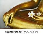 Plumeria In Hand Of Image Buddha