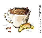 painting a cup of coffee and... | Shutterstock .eps vector #90089884
